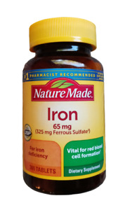 Nature Made Iron 65 mg=325 mg Ferrous Sulfate - 365 Tablets Exp 01/2024