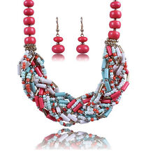 Ethnic Bohemian Vintage Coral Beads Braided Twist Necklace Dangle Earrings Set