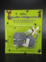 Originelles Geldgeschenk Maus Mouse aus Filz grau,Geburtstag Glückwunsch