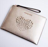Michael Kors tasche clutch bag adele clutch zip  saffiano pale gold neu