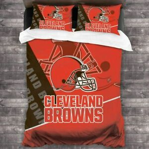 Cleveland Browns Bedding Set Comforter Covers Pillowcases 3PCS Duvet Cover Set