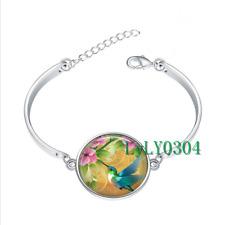 Hummingbird Garden glass cabochon Tibet silver bangle bracelets wholesale