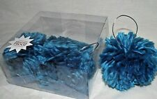 Christmas Blue Pompoms Ornament Hanging Bright Fluffy Soft 4 Crafts Funky NEW