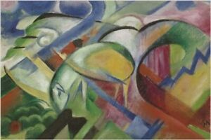 THE SHEEP franz marc VINTAGE PAINTING art poster COLORFUL CUBIST 24X36 rare