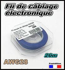 awg28B fil bleu de câblage modélisme éléctronique Ø 0,8mm bobine  20m