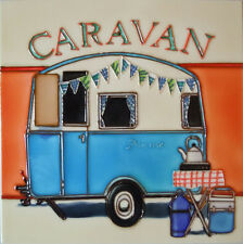 "Caravan Bunting Ceramic Picture Pile Wall Plaque Kitchen Camping 8x8"" 05537"