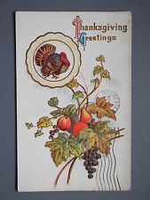 R&L Postcard: Thanksgiving, Turkey Fruit USA Design, Embossed