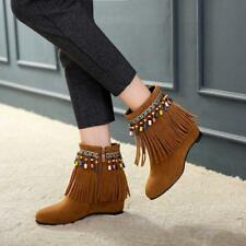 Womens Boho 2019 Moccasins Tassels Faux Suede Fur Lined Hidden Wedge Ankle Boots