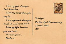 "Personalised Third 3rd Wedding Anniversary 4""x6"" Postcard Style Leather Artwork"