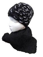 Women's Beanie Hat Scarf Set with Diamante Studded Flower