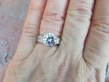 Sterling Silver & Half Bezel & Channel Set CZ Band Ring Size 6 ONLY NEW