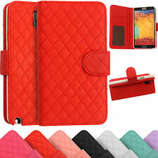 Leather Wallet Cover Quilted Stitched Case For Samsung Galaxy Note 2 N7100