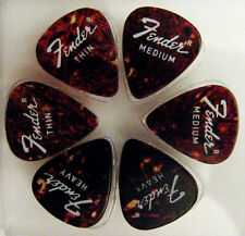 6 VINTAGE FENDER Guitar picks Uncircled r Thin Med Hvy Tort Cell Plectrums NOS