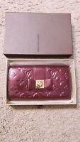 Louis Vuitton Amarante Monogram Vernis Portefeuille Sarah Noeud Wallet Clutch fh