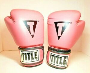 TITLE Boxing Womens 12oz Pink Black Hit It Hard Leather Boxing Gloves