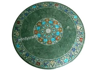"30"" Marble Dining Table Top Multicolor Gemstones Inlay Royal Look Center Table"