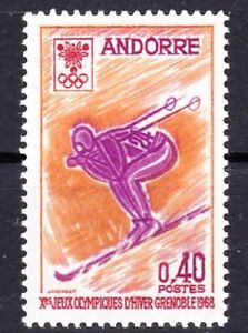 ANDORRA, FRENCH #181 MNH 10th WINTER OLYMPIC GAMES, GRENOBLE (DOWNHILL SKIER)