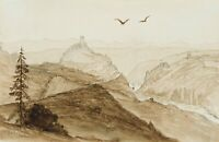 M.Savigny (1831-1905),Siebengebirge mit Drachenfels u Rolandsbogen,1858,Aquarell