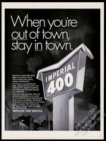 1968 Imperial 400 motel sign & city at night art vintage print ad