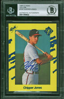 Braves Chipper Jones Signed 1990 Classic Yellow #T92 RC Auto Card BAS Slabbed
