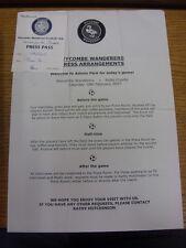 10/02/2007 Wycombe Wanderers V Notts County-PRESS Pass & arrangiamenti foglio (S