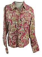 Charter Club blazer jacket womens Size L button down pink paisley yellow red