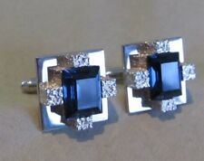 Mens Vintage FACETED COBALT BLUE CUFFLINKS Costume Jewelry F45