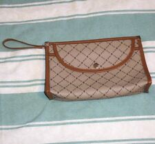 1980s-VINTAGE PVC ZIPPED CLUTCH BAG WITH WRIST STRAP & OUTER POCKETS, UNUSED