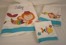 "Company Store Cotton Mermaid Applique Bath Towel Set ""Talley"" Nwd 8207S 38139"