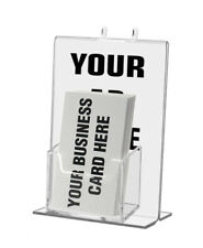 Sign Display Tabletop Or Peg Board Mount With Vertical Business Card