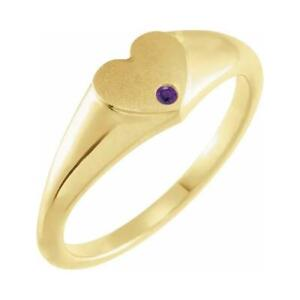 14K Yellow Gold Amethyst Heart Signet Ring Size 7