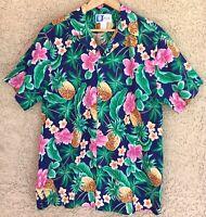 RJC Men's Large L Hawaiian Shirt Vintage Hibiscus Pineapple Palm Aloha Made USA