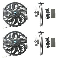 "2x 12"" inch Universal Slim Pull Push Radiator Engine Cooling Fan 12V w/Mount Kit"