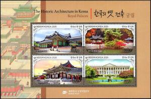 "Korea South 2021 ""Historic Architecture in Korea"" Royal Palaces 4v M/S"