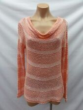 INC International Concepts Women's Cowl-Neck Open-Knit Striped Sweater, Coral, M