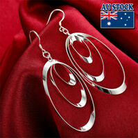 Classic 925 Sterling Silver Filled Lovely Oval Dangle Earrings Gift