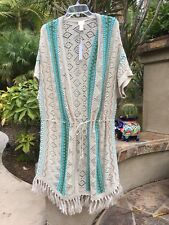 CHICO,S NWT $109 FRINGE DETAIL OPEN FRONT DESIGN TEAL MIX,BELTED CARDIGAN 3-XL