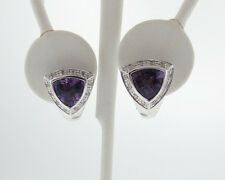 Natural Trillion Amethyst Diamonds Solid 14k White Gold Omega Back Earrings