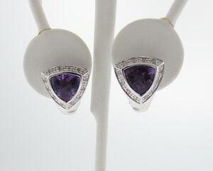 Natural Trillion Amethyst Diamonds Solid 14k White Gold Omega Back Earrings