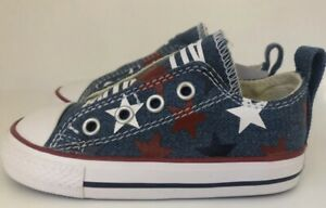 Converse Chuck Taylor All Stars Toddler Size 6 Simple Slip On Red White and Blue