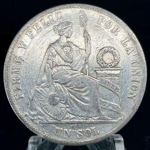 1875 YJ PERU UN SOL   (KM 196.3) .900 Silver Coin.