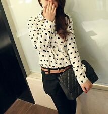 Sexy Women's Loose Chiffon Heart Tops Long Sleeve Shirt Casual Blouse Size XL