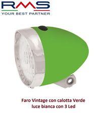 Faro/Fanale Anteriore Vintage calotta Verde luce 3 Led per Bici 20-24-26 Cruiser