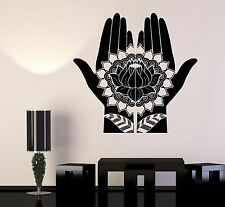 Vinyl Wall Decal Mehndi Decoration Beauty Hands Henna Lotus Stickers (697ig)