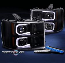 FOR 2007-2013 GMC SIERRA OPTIC LED BAR BLACK PROJECTOR HEADLIGHT W/BLUE DRL KIT