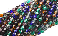 100 Jewel Mix Czech Glass Faceted Round Beads 4MM