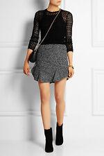 New Isabel Marant Women`s Drye Wool Blend Bouclé Mini Skirt Grey Size S 36 UK8