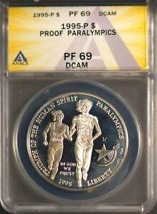 1995-P $1 Paralympics Silver Dollar Proof 69 DCAM ANACS # 7269881 + Bonus