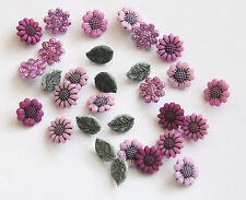 Tiny Country Flower Buttons by Dress It Up / Jesse James / Pink w Green Leaves