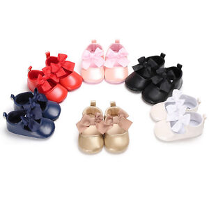 Baby Girls Princess Crib Shoes Mary Jane Bowknot First Shoes Size Newborn to 18M